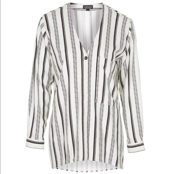 Topshop Tops - Topshop Stripe V-Neck Shirt